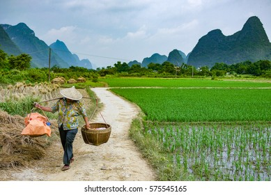 2010-08-16 Yangshuo, China: Local woman carrying goods to the market on a country lane in rural China
