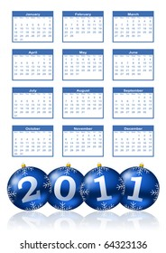 2011 calendar with christmas balls