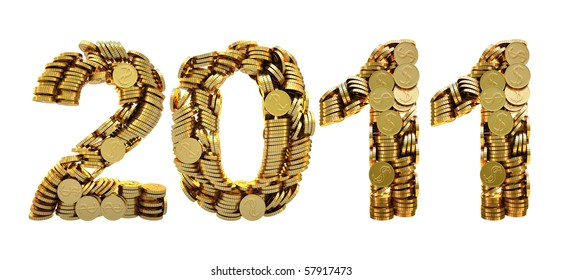 2011 is composed of gold coins. with clipping path.