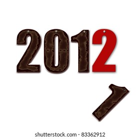 2011 has gone,2012 is arriving.scruffy characters 2011 with rusted screw replaced by new character 2012