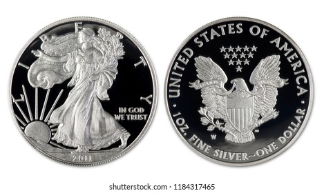 2011 silver eagle dollar proof coin showing both sides.