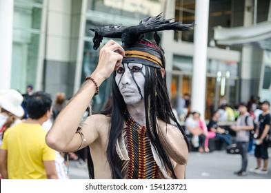 "2013., bangkok, THAILAND - SEPTEMBER 1: Thai cosplayers dress as the characters from movie ""the lone ranger"" in Japn festa in Bangkok on September 1"
