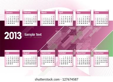 2013 Calendar. Eps10.