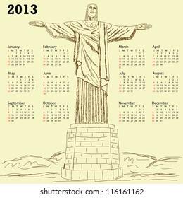 2013 calendar with vintage illustration of famous tourist destination Christ the redeemer, Rio de Janeiro Brazil.