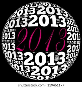 2013 info-text graphics arrangement on black background