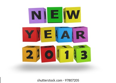 2013 new year modeled with tridimensional color blocks