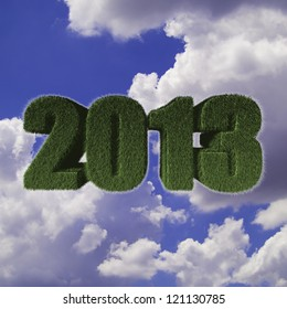 2013 New Year sign of green grass with blue sky. Eco concept for new year