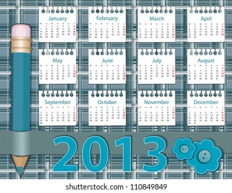 2013 year calendar on the background pattern in the cell