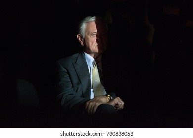 "2013.07.23 Valdas Adamkus, former president of Lithuania, waiting in a backstage for an event called ""Sport for everyone"" start"