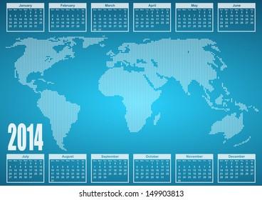 2014  calendar with world map