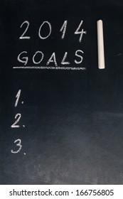 2014 goals words written on the chalkboard