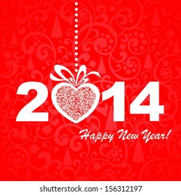 2014 Happy New Year greeting red card or background.  illustration
