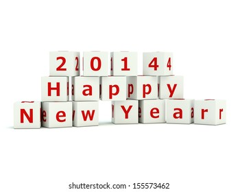 2014 Happy New Year sign on bricks isolated on white