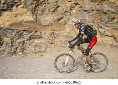 2014 March 11, mountain biking in Nepal, Yak Attack - the high-altitude, long-distance and highest mountain bike endurance race in the world, Annapurna range, Nepal.