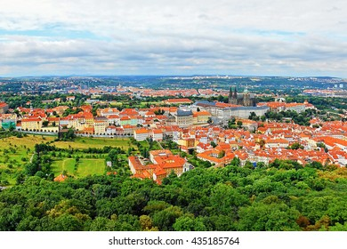 2014-07-09 Prague, Czech republic - photo of view from the 'Petrinska rozhledna' tower to nice historical city Prague in Europe with monuments 'Prazsky hrad' castle and 'Chram svateho Vita' cathedral
