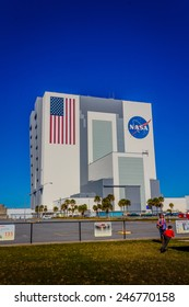 [2014-12-14] NASA Vehicle Assembly Building, Orlando, Florida on a sunny day. This building is used to assemble large American manned rockets and will be used to launch upcoming Space Launch System