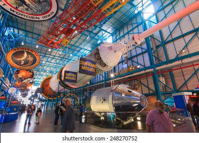 [2014-12-14]Apollo/Saturn V Center at Kennedy Space Center, Orlando, Florida. This is the rocket used to go to the moon in 1969. Rockets and visitors are visible in the photo