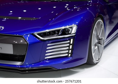 2015 Audi R8 e-tron presented  the 85th International Geneva Motor Show on March 3, 2015 in Palexpo, Geneva, Switzerland