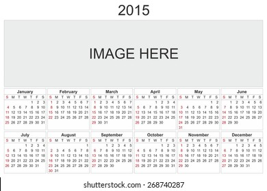 2015 calendar designed by computer using design software, with white background