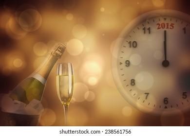 2015 clock against sparkling wine