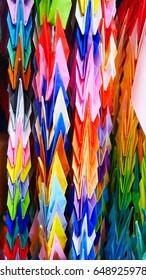 2015 - Colorful origami paper folding bird in rememberance of Sadako Sasaki, a little girl victim of an American atomic bomb in Nagasaki Atomic Bomb Museum, Nagasaki, Kyushu, Japan