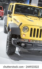 The 2015 Jeep Wrangler Rubicon at The North American International Auto Show January 13, 2015 in Detroit, Michigan.