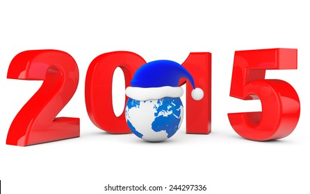 2015 New Year Concept. Santa Hat over Earth Globe on a white background