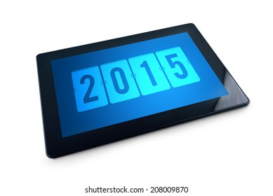 2015 on Generic Tablet PC display over white background. Happy New Year with modern technology high tech gadget in media era.