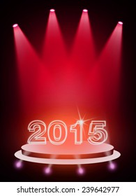 2015 on red stage background