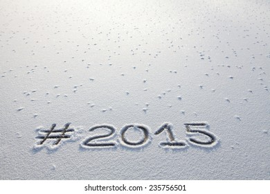 #2015 on snow with hash tag