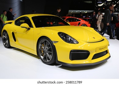 2015 Porsche Cayman GT4 presented  the 85th International Geneva Motor Show on March 3, 2015 in Palexpo, Geneva, Switzerland