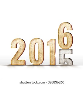 2015 wood number year change to 2016 year in white studio room, New year concept.