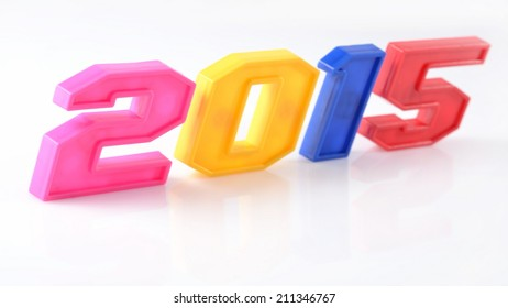 2015 year colorful figures on white background