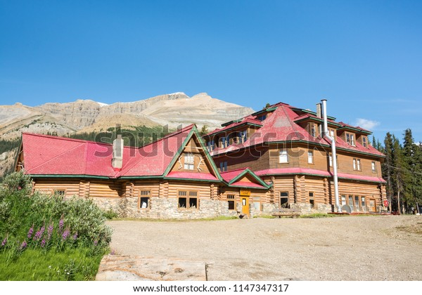 2015-08-02: Historic Numi-Ti-Jah Lodge along the icefields parkway located at Banff National Park Alberta Canada