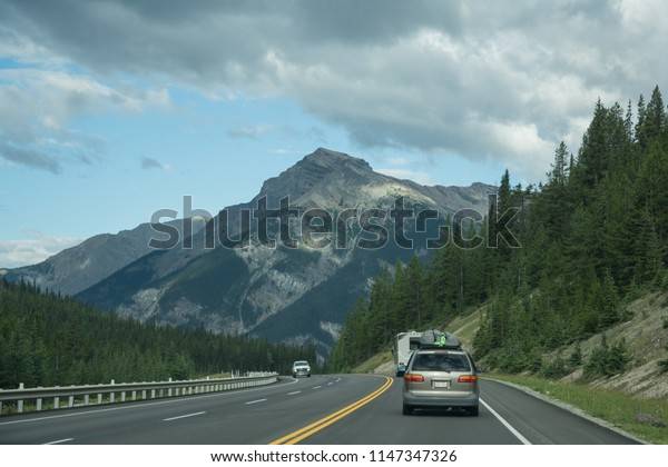 2015-July-15: Road trip from Calgary to Canadian Rocky Mountains via Trans Canada Highway at Alberta Canada on a nice summer day