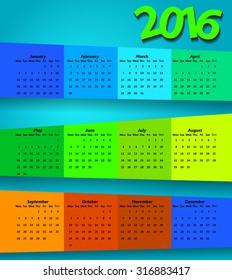2016 calendar modern simple design