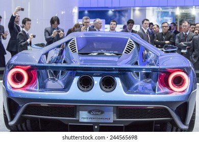 The 2016 Ford GT supercar at The North American International Auto Show January 12, 2015 in Detroit, Michigan.