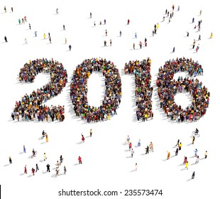 2016 formed out from celebrating people seen from above
