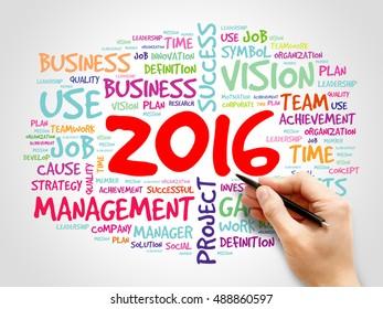 2016 goals plan, project word cloud, business concept background