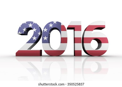 2016 graphic against usa national flag