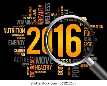 2016 health and sport goals word cloud with magnifying glass, business concept