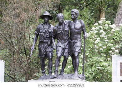 2016 january, 26: observe the plaques depicting the lives of those who fought, kokoda, australia, kokoda trail memorial walk ferntree gully kokoda kokoda track me, melbourne