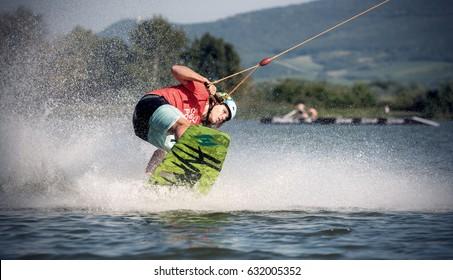 2016, JULY 27, CZECH REPUBLIC, SOUTH MORAVIA: Pasohlavky, Nove Mlyny reservoir, wake park Merkur