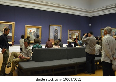 2016, June 5 - National gallery in Oslo, Norway - Munch exhibition room is the most popular room among tourists to visit, as Edvard Munch is the most famous Norwegian expressionist artist.