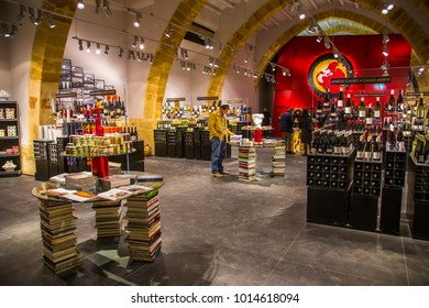 2016, March 3. Marsala, Sicily, Italy. Cantine Florio is one of most ancient and important wine producer in Sicily. This is the Florio shop and wine bar near the old cellar