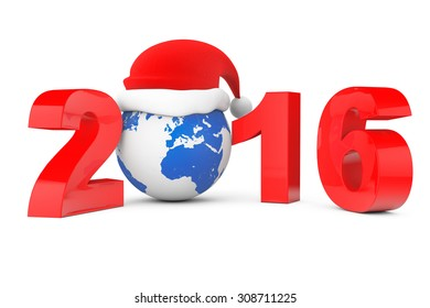 2016 New Year Concept. Santa Hat over Earth Globe on a white background