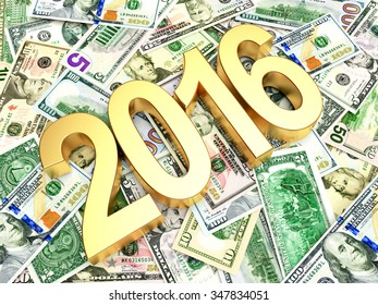 2016 New Year on heap of dollar bills. Business and financial concept.