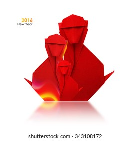 2016 New Year Simbol Origami Red Fire Monkey Family On A White Background
