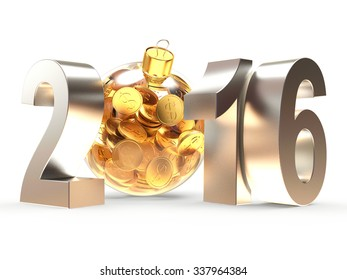 2016 New Year with transparent Christmas ball full of golden coins isolated on white background