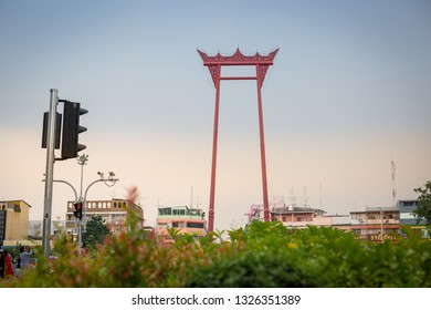 2016 Nov The Phram Giant Swing, (Sao Chingcha in Thai word). It was formerly used in an old Brahmin ceremony. Placed in city of Bangkok Thailand souteast Asia and being one of the landmark for tourist